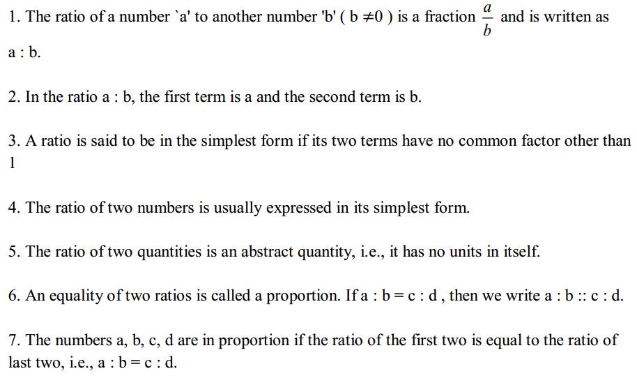 Ratio and Proportion Formulas Formulas for Class 6 Q1