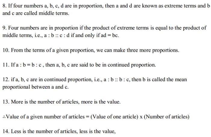 Ratio and Proportion Formulas Formulas for Class 6 Q2